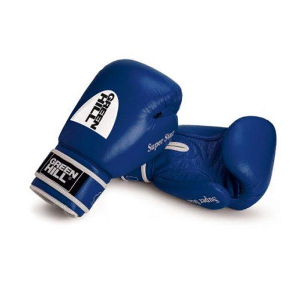Перчатки боксерские боевые для спаррингов и соревнований Super Star, натуральная кожа, на липучке 1