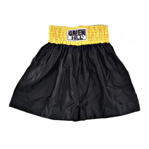 Шорты (трусы) для тайского бокса и кикбоксинга THAI-BOXING черные с желтым поясом 1