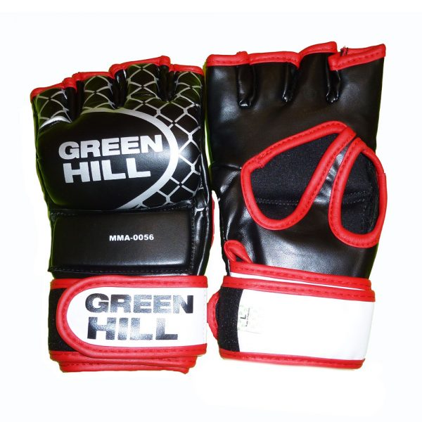 Перчатки MMA черные с красным кантом кожзаменитель