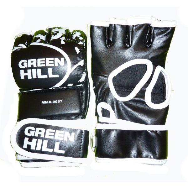 Перчатки MMA черные с белым кантом кожзаменитель