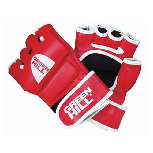 Перчатки MMA красные натуральная кожа специальное утолщение на кулаке  1
