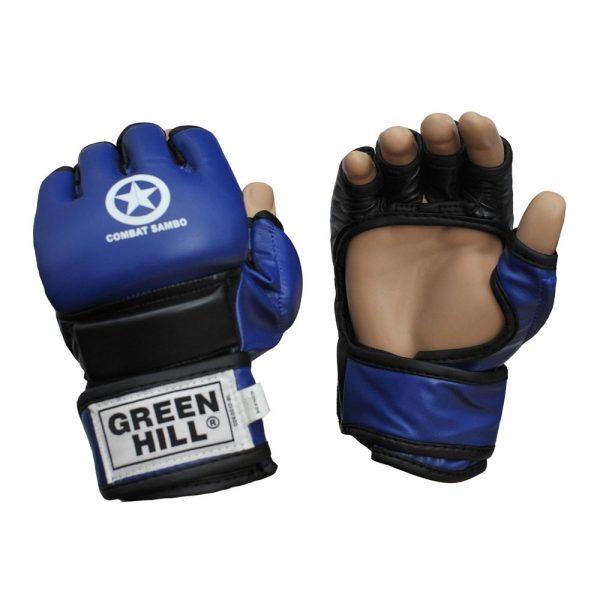 Перчатки MMA синие кожзаменитель COMBAT SAMBO для любых видов единоборств 1
