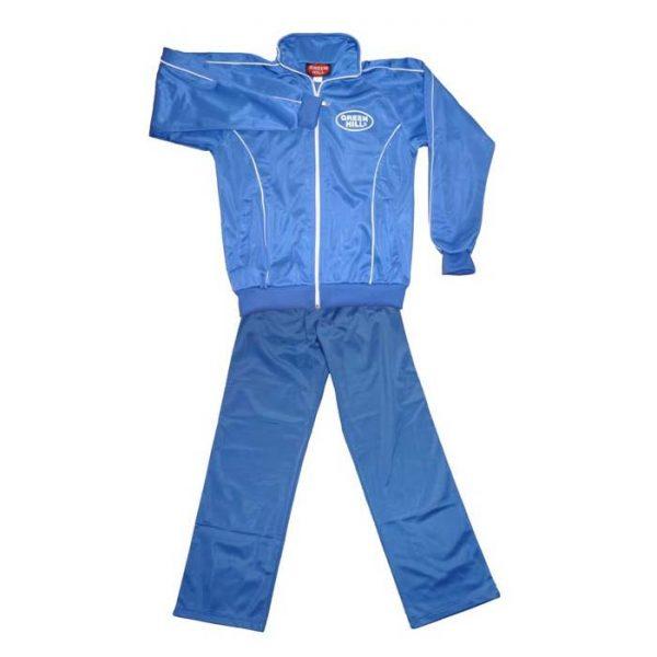 Детский спортивный костюм синий полиэстер для занятий спортом и повседневного ношения