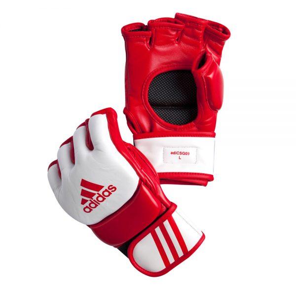 Перчатки для смешанных единоборств Competition/Training Gloves из натуральной воловьей кожи с красными вставками из вспененного полимера 1