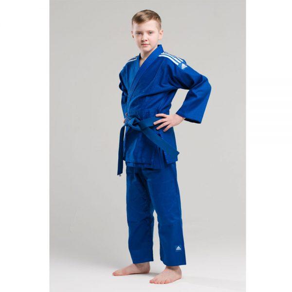 Кимоно для дзюдо подростковое Club синее  из смеси полиэстера и хлопка для детей и начинающих спортсменов 1