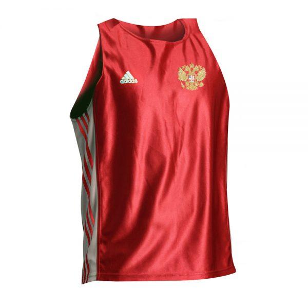 Майка боксерская Amateur Boxing Tank Top эффективно отводит влагу от тела во время тренировки свободный покрой герб России 1