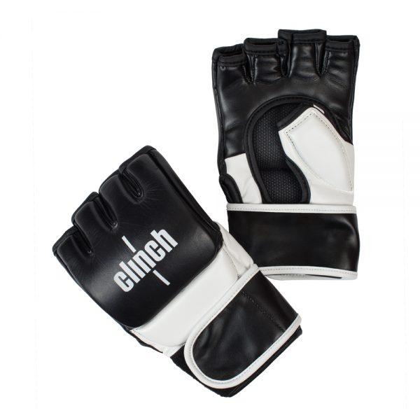 Перчатки для смешанных единоборств Clinch MMA Combat из натуральной кожи защита большого пальца длинная манжета на липучке 1