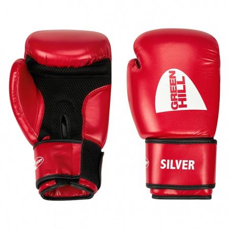 BGS-2039 Перчатки боксерские тренировочные SILVER Green Hill (10-14 oz)