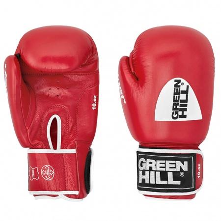 """BGT-2010c Перчатки боксерские боевые TIGER Green Hill верх из натуральной кожи, технология """"Антинокаут"""""""