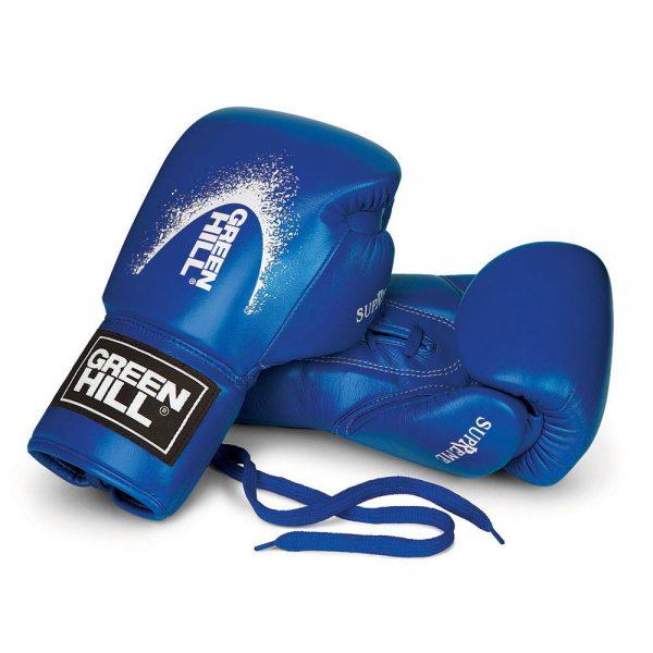 Перчатки для кикбоксинга из натуральной кожи SUPREME для тренировок и спаррингов Green Hill синие