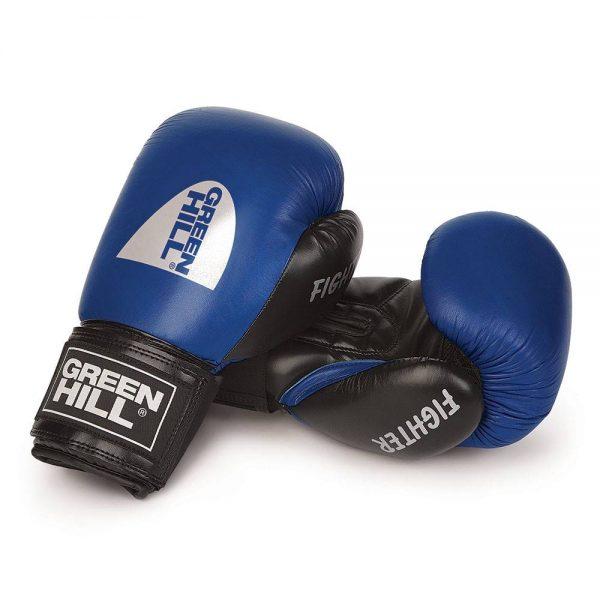Перчатки для кикбоксинга тренировочные FIGHTER Green Hill натуральная кожа буйвола (10-12 oz) 1