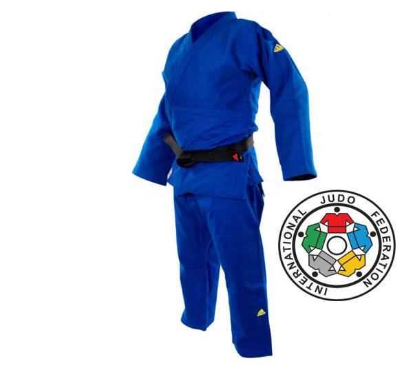 Кимоно для дзюдо Adidas Champion 2 IJF SLIM FIT синее, плотная ткань, усилено в областях с высокой нагрузкой