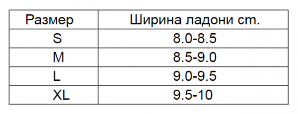 таблица размеров накладки адидас
