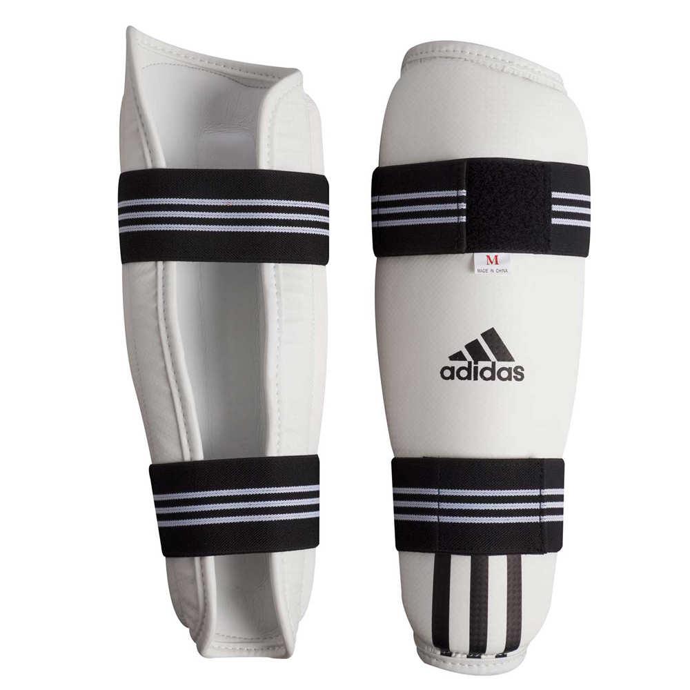 Защита голени для тхэквондо WTF Adidas Shin Pad Protector белая (полиуретан)