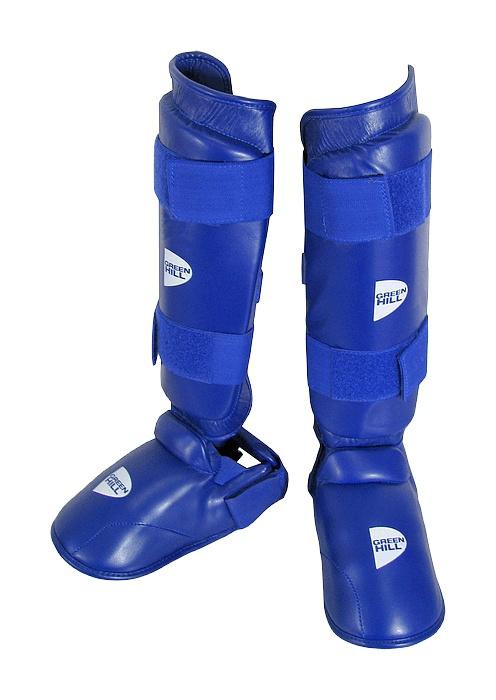 защита голени и стопы для каратэ синяя sip 2145