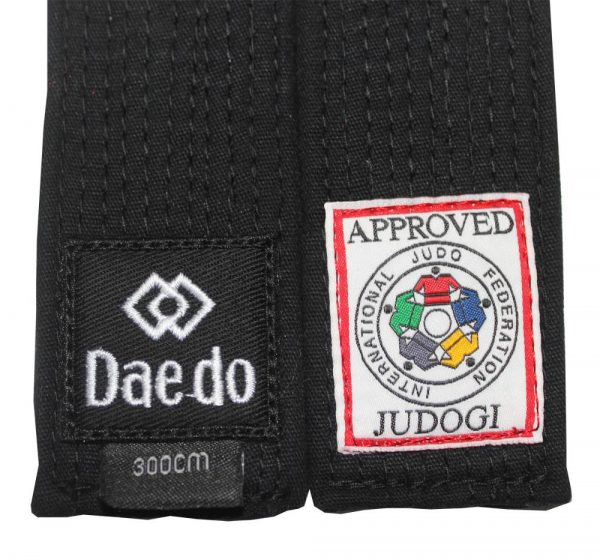 Пояс IJF черный дзюдо Daedo