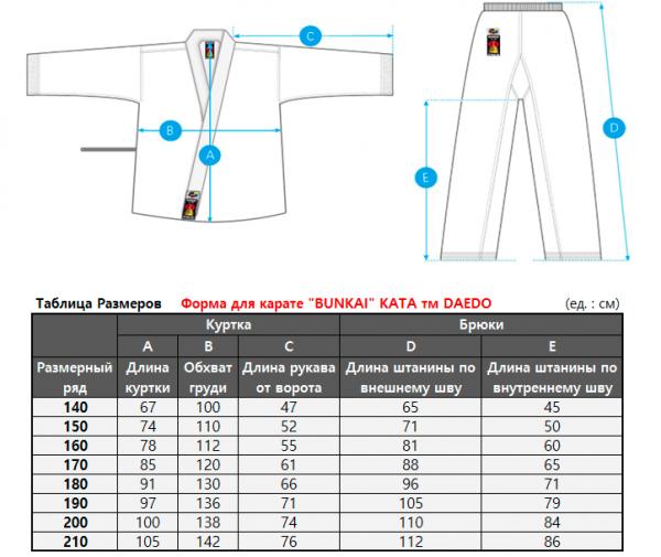 таблица размеров бункай ката даедо кимоно
