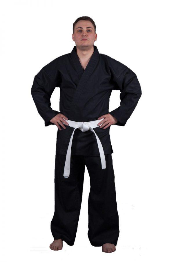 черное кимоно для единоборств и каратэ