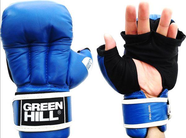 Перчатки для рукопашного боя (2 прорези) Green Hill синие натуральная кожа