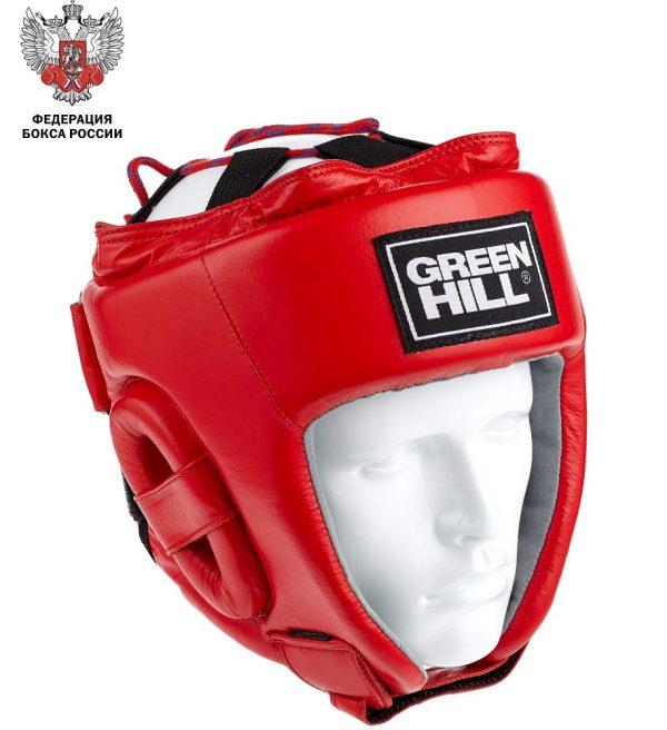 Шлем для бокса лиценз. Федерации Бокса России, натуральная кожа Green Hill красный / синий
