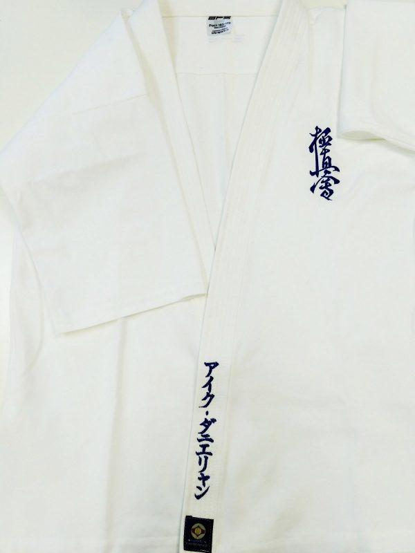 именное доги кимоно киокушинкай с вышивкой имени