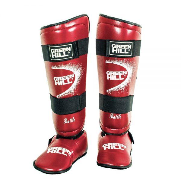 защита голени и стопы для рукопашного боя и единоборств красная