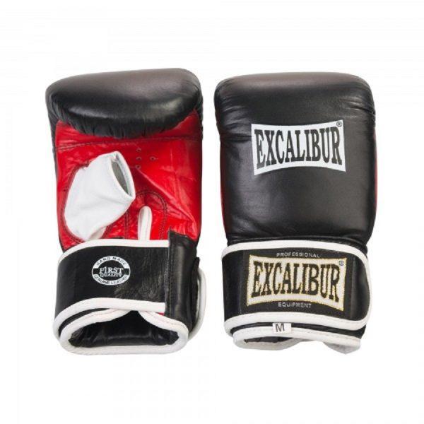 Перчатки боксерские Excalibur 604/02 Буйволиная кожа Leather - Black/Red