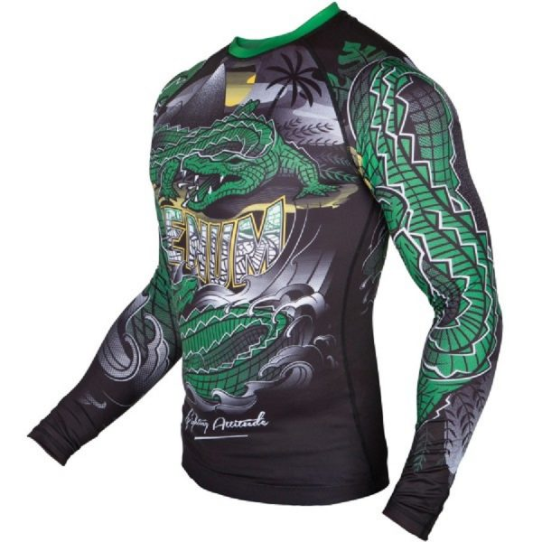 Рашгард Venum Crocodile Black/Green L/S