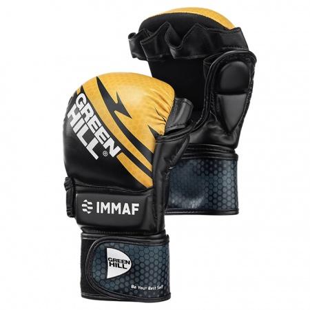 MMI-602 Перчатки MMA IMMAF Green Hill черно-красные/черно-синие/черно-золотистые
