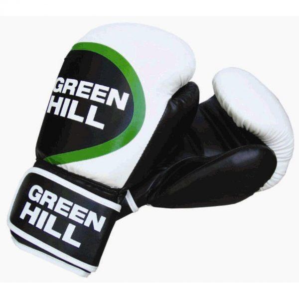 Перчатки бокс. WINNER белый/черный/зеленый 10-16 oz Green Hill