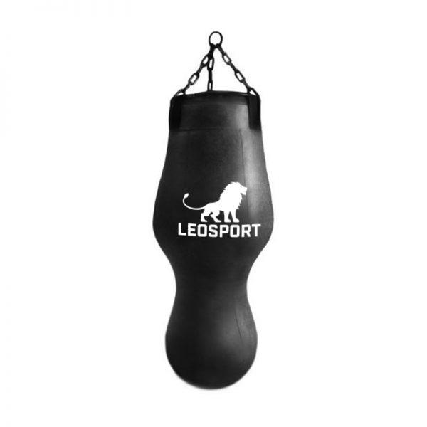 Мешок боксерский «Фигурный» черный+подвесное устройство, кирза Леоспорт
