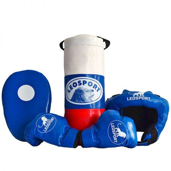 """Детский боксерский набор """"Львенок"""" Леоспорт для начинающего спортсмена мешок+перчатки+шлем+лапа №4"""