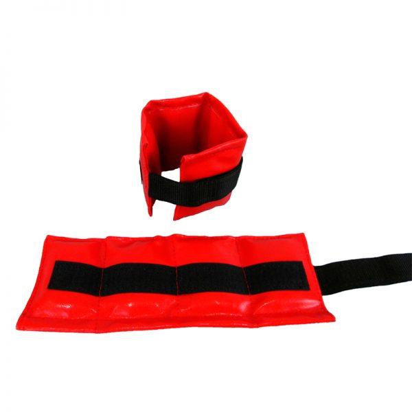 Утяжелители песочные для рук и ног красные, кожзаменитель Леоспорт