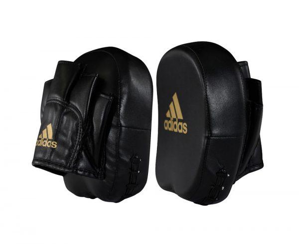 Лапы Adidas Short Focus Mitts черно-золотые (полиуретан)