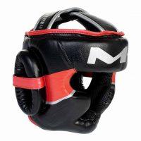 Шлем боксерский Clinch M1 черно-красно-серебристый