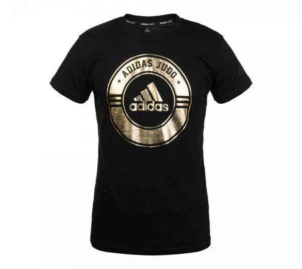Футболка Adidas Combat Sport T-Shirt Judo черно-золотая хлопок