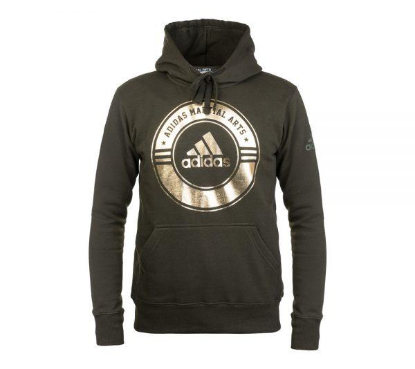 Толстовка с капюшоном Adidas Combat Sport Hoody Martial Arts зелено-золотая
