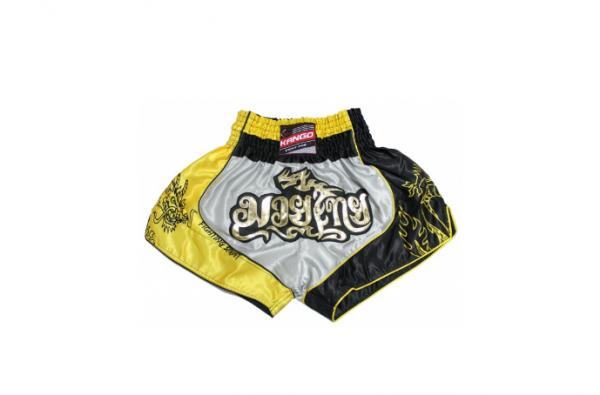 Шорты тайские Kango KBS-070 Yellow/Gray