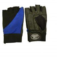 Перчатки тяжелоатлетические Green Hill кожа+эластик, черно-синие