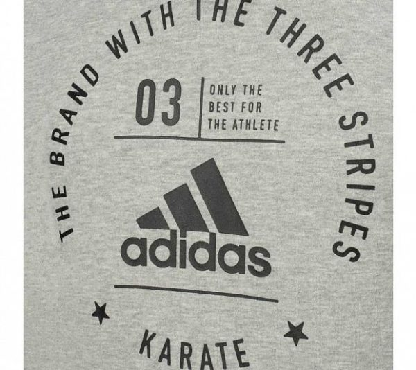 adiCL02K Толстовка с капюшоном The Brand With The Three Stripes Karate Adidas серо-черная