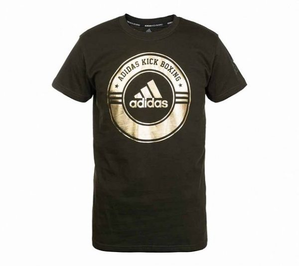 Футболка Adidas Combat Sport T-Shirt Kick Boxing зелено-золотая хлопок