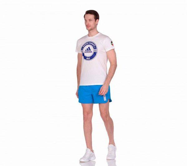 Футболка Adidas Combat Sport T-Shirt Karate бело-синяя хлопок