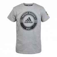 Футболка Adidas Combat Sport T-Shirt Karate серо-черная хлопок