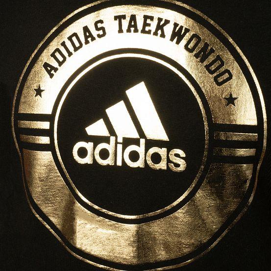 Футболка Adidas Combat Sport T-Shirt TAEKWONDO черно-золотая хлопок