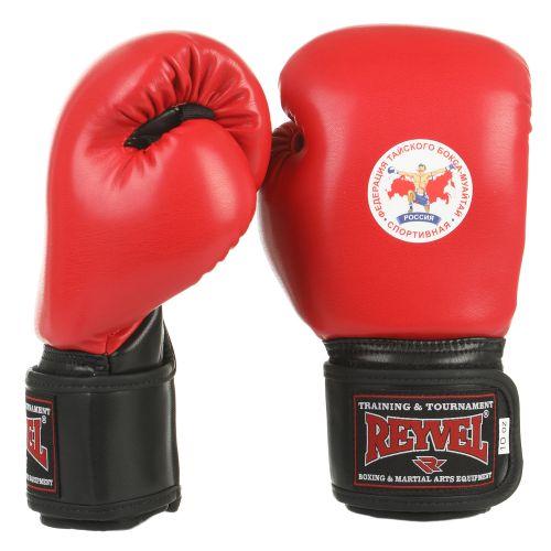 Перчатки для тайского бокса лицензия ФТБР Reyvel красные/синие